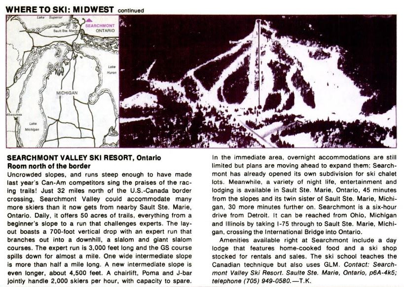 Searchmont Valley Ski Resort - from ski magazine 1973