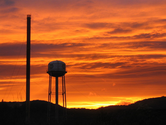 Searchmont Sunset over the old mill and water tower.